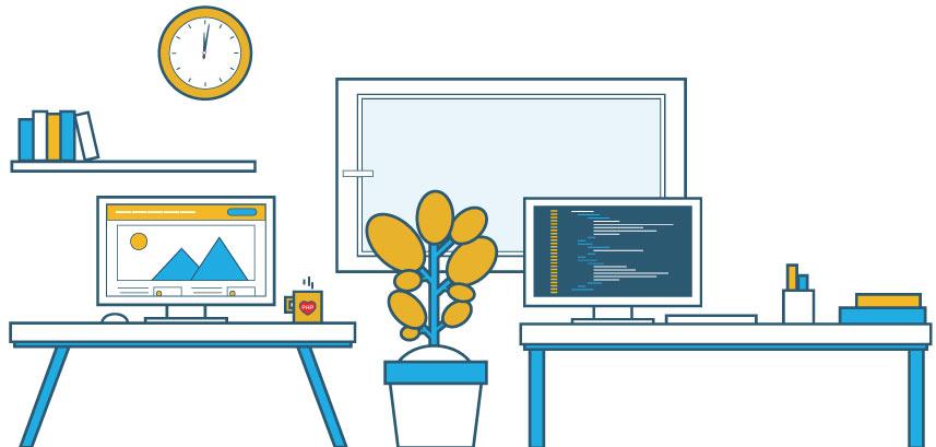 Millerdigital kantoor met programeer bureau